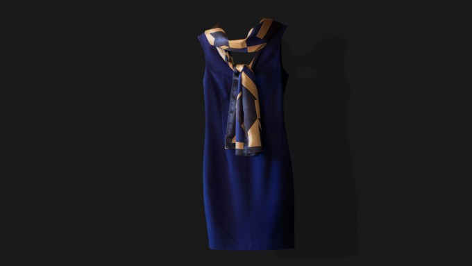 Blue elegant dress with colourful scarf Oversal