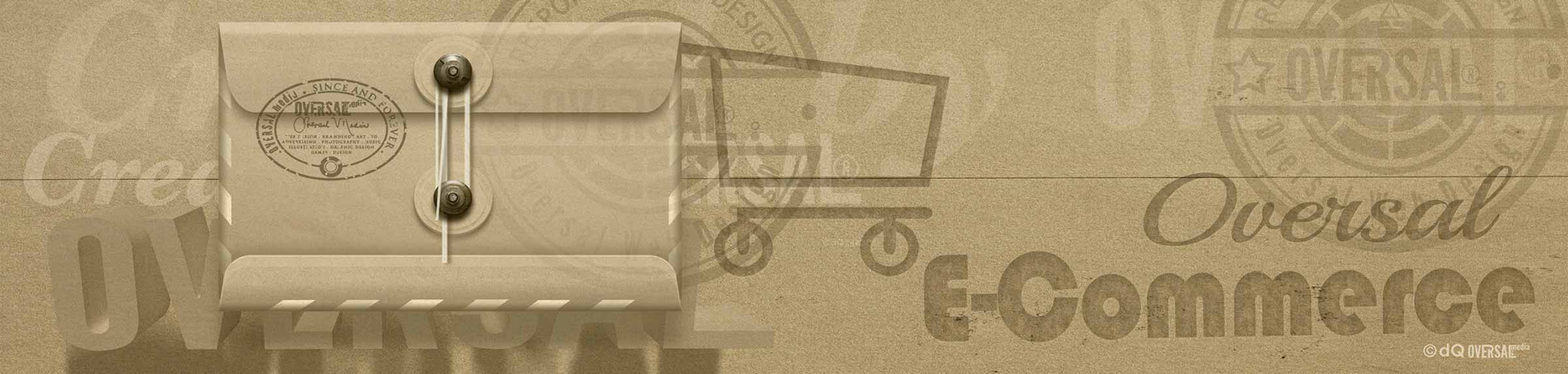 Graphic of a paper envelope with shopping cart Oversal