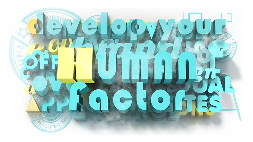 Juxtapose with colourful 3D text - Analytics human factor - Oversal