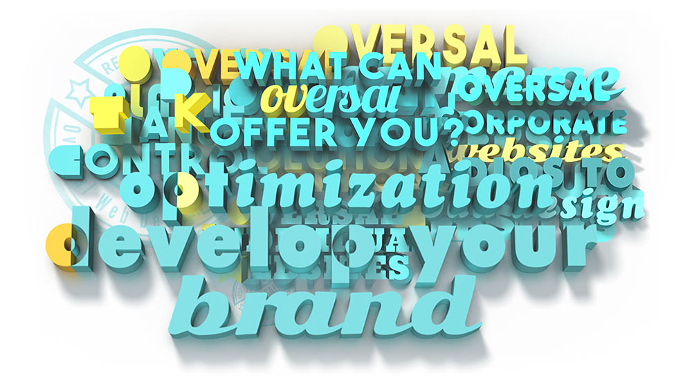 Juxtapose with colourful 3D text - Analytics optimization - Oversal