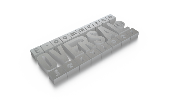 3D graphic with e-commerce services message
