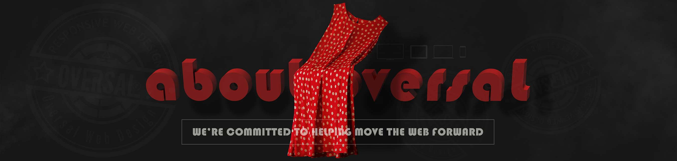 Red dress with 3D text - About Oversal Web Design