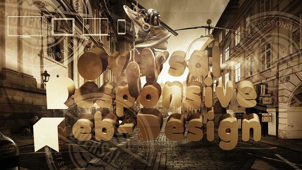 Prague street with 3D text - Responsive web design you need - Oversal
