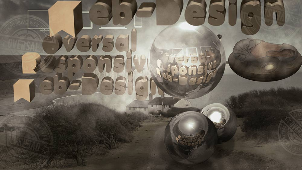 Flying orbs and 3D text - Standard responsive design - Oversal
