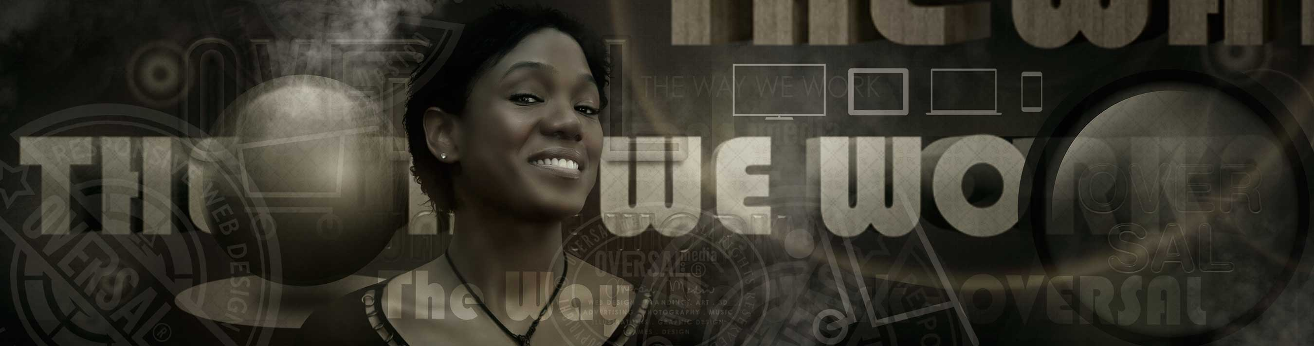 Smiling woman and 3D text - The way we work - Oversal