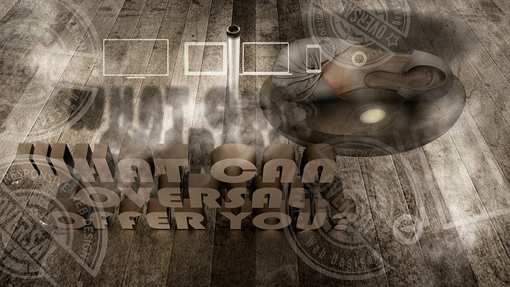 3D text on wooden floor and flying shoes - What can we offer you right now - Oversal