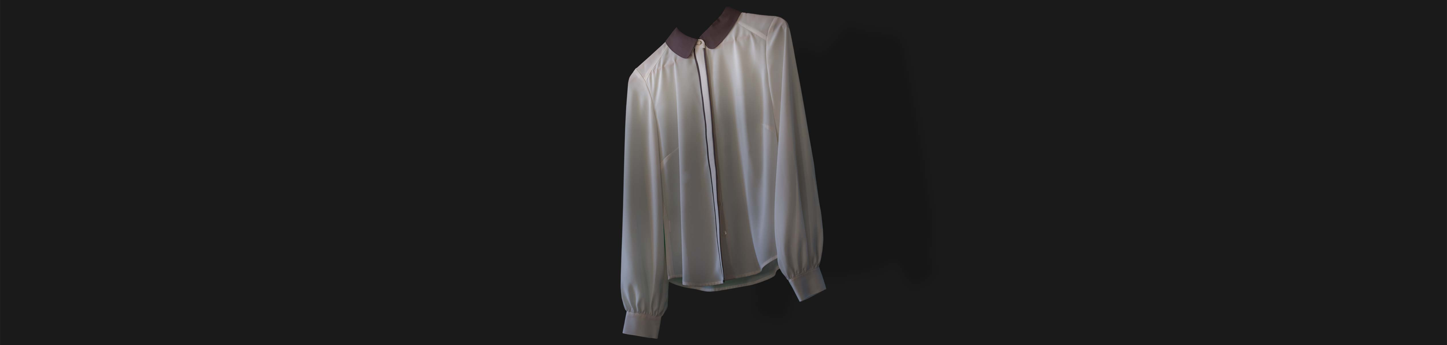 White blouse with long sleeves Oversal