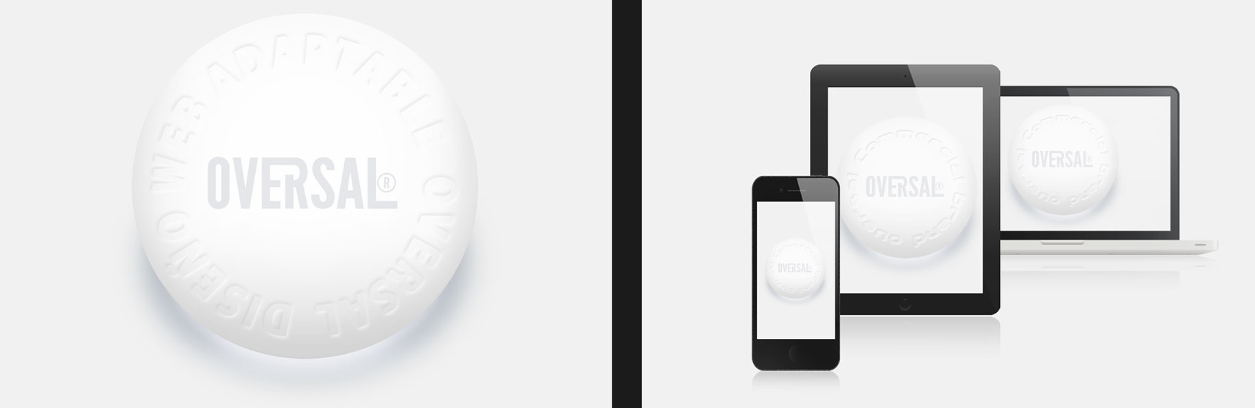 White round button with three gadget screens - Somos buenos diseñadores web - Oversal