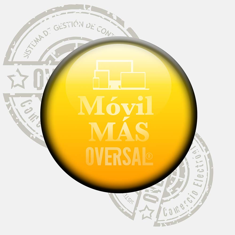 Yellow round graphic with black border and stamp - Móvil superior - Oversal
