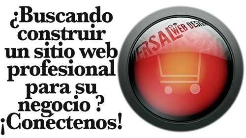 Red and yellow round graphic with shopping cart - Buscando construir un sitio web - Oversal
